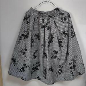 ギャザースカート 花柄 ウエストゴム チェック 白色 黒色 コットン