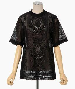 即決 新品タグ付 2021SS mame kurogouchi Curtain Lace Jacquard Jersey Top 色black サイズ2 マメ28,600円 JS004
