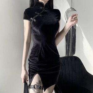 ブラック ゴシック チャイナ ベロア セクシー 小悪魔 L 着痩せ ストレッチ エロかわ キャバ嬢 ボディコン ミニワンピース