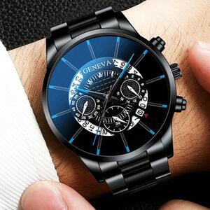 GENEVA1高級メンズファッションビジネスカレンダー表示ブルーステンレス鋼メッシュベルトアナログクォーツ時計レロジオmasculino日付  cQ 
