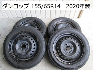 スチールホイール付き タイヤ4本 タント LA600S H27 155/65R14 ダンロップ エナセーブ 2020年製