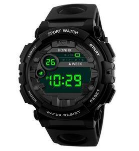 ※お得※メンズデジタル腕時計 男性ウォッチ Gshock風 アウトドア スポーツ カジュアル 防水 LED発光 ブラック/黒
