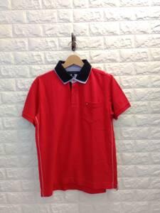 TOMMY HILFIGER トミーヒルフィガー 胸ポケット付き コットン 綿 半袖ポロシャツ 刺繍ロゴ付き メンズ 赤 レッド RED L