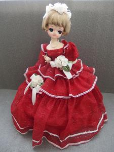 0610410s【昭和レトロ 赤いドレスのポーズ人形】中古品/H47cm程/白い花/レース/※足が無く骨組みのタイプです※汚れスレ、シミほつれ有り