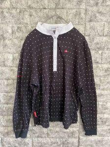 【良品】 le coq spoltif GOLF COLLECTION ルコックゴルフ 長袖ゴルフシャツ レディース Lサイズ 刺繍ロゴ ブラック デサント