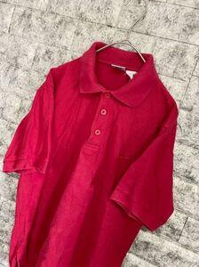 【希少】 90s NIKE ナイキ 銀タグ 半袖ポロシャツ 刺繍ロゴ メンズ Sサイズ シンプル レッド