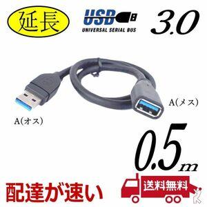 □USB延長ケーブル 0.5m 高速転送 USB3.0 A(オス)-A(メス) 3AAE-05【送料無料】