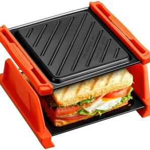 ホットサンドイッチメーカー電化製品は、電子レンジ調理グリル グリル専用レンジ対応 焼き魚トレイパン ハンドル 16x12cm底面波型