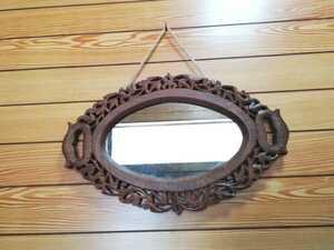 木製 ミラー 壁掛け 鏡 手彫り インド 楕円 アジアン雑貨 木枠 フクロウ ビンテージ ヴィンテージ アンティーク調 雑貨 インテリア