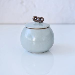 汝窯 青釉 青瓷 砧青磁 ティーストレージコンテナ 物入れ 茶倉 茶缶