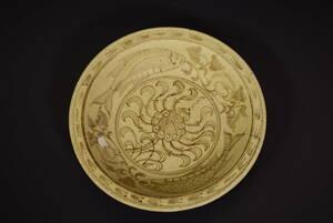 【和】古美術収集家買出品 時代古作 安南花魚紋大鉢 大皿 スンコロク  (1574)