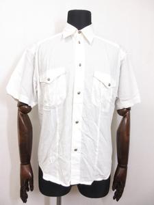 【ヴェルサーチ VERSACE JEANS COUTURE】コットン半袖シャツ (メンズ) sizeS ホワイト 伊製 □18MK7045□