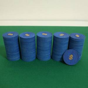 美品 本格カジノチップ 100枚 美品 Paulson クレイ コイン ポールソン ルーレット ブラックジャック バカラ ポーカー POKER 粘土 紺