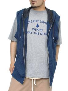【新品】 5L ネイビー ノースリーブ パーカー メンズ 大きいサイズ ジップアップ ベスト プリント 半袖 Tシャツ 2点セット アンサンブル