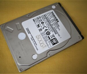 "【東芝】MQ01ABD050 SATA-500Gバイト-2.5""-9m厚-HDD(使用時間:493時間)"
