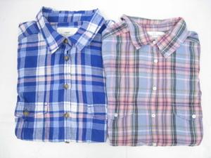 H&M L.O.G.G. エイチアンドエム 半袖 チェックシャツ 計2点セット ブルー系40 / ピンク×ライトブルー系36