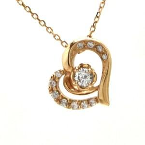 4℃ K18 ペンダント ネックレス ダイヤモンド ハート 砂時計 重量2.5g レディース ジュエリー