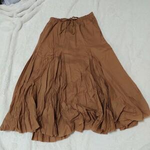 フレアスカート  ギャザースカート  ロングスカート ヒラヒラスカート 膝丈スカート スカート 茶色 ベージュ ゆったり