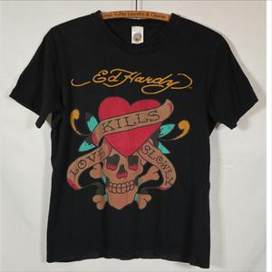 エドハーディー ED HARDY 半袖Tシャツ Sサイズ スカル ブラック USA製/506081661