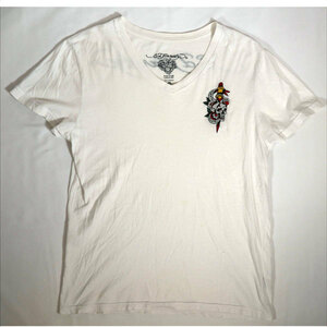 エドハーディー ED HARDY 半袖Tシャツ Mサイズ Vネック 刺繍 ホワイト 白 スカル/506251661