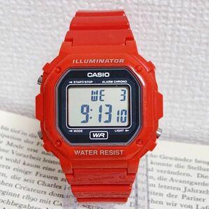 ★CASIO ILLUMINATOR デジタル 多機能 腕時計 ★カシオ イルミネーター F-108WHC アラーム クロノ レッド 稼動品 F4463