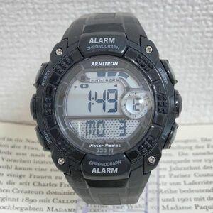 ★ ARMITRON メンズ デジタル 多機能 腕時計 ★ アーミトロン アラーム クロノ ブラック 稼動品 F4557