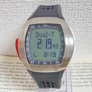 ★SPORTLINE 多機能 デジタル メンズ 腕時計★ スポーツライン アラーム クロノ タイマー シルバー 稼動品 F4743