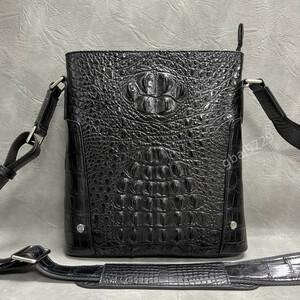 上質 シャムクロコダイル ワニ革本物◆多機能 2way 斜め掛け ショルダーバッグ メンズバッグ◆ボディバッグ 通勤 鞄 黒