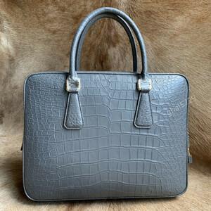 高品質 シャムクロコダイル レザー ワニ革本保証 A4書類対応 ビジネス 鞄 ブリーフケース 出張 メンズ/ハンドバッグ グレー