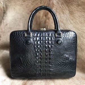 大容量 シャムクロコダイル ワニ革本物 多機能 A4書類対応 ビジネス 鞄 ブリーフケース 出張用 通勤 メンズ/ハンドバッグ 黒