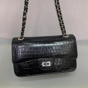 欧米旅行 シャムクロコダイル ワニ革本物 本革 レザー 2way 斜め掛け ショルダーバッグ 鞄 レディースバッグ 黒