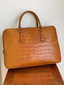 高品質 シャムクロコダイルレザー ワニ革本保証多機能 A4書類対応 ビジネス 鞄 ブリーフケース 出張用 通勤 メンズ/ハンドバッグ
