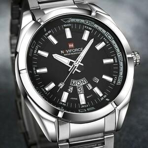 ☆NAVIFORCE メンズ腕時計フルスチール防水カジュアルクォーツスポーツ腕時計レロジオ Masculino☆