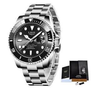 ☆LIGE トップブランドの高級ファッションダイバー腕時計男性 30ATM 防水日付時計スポーツ腕時計メンズクォーツ腕時計レロジオ Masculino☆