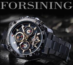 ☆Forsining 高級 男性 機械式 メンズ 時計 自動 トゥールビヨン スケルトン カムーンフェイズ 鋼☆