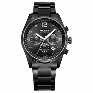 ☆MEGIR メンズ腕時計ファッションクロノグラフクォーツ時計ステンレス鋼ビジネス腕時計レロジオ Masculino☆