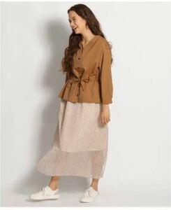 【美品】 ニコアンド インドレオパードギャザースカート 夏ロングスカート ヒョウ柄 体型カバー ゴム