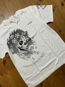 ★ ED HARDY エドハーディー 半袖プリントTシャツ 白 L 新品 0748 ドクロ メンズ 新品