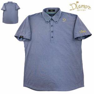 定価1.8万 希少 DLemore ドレモア ポロシャツ ゲームシャツ サイズL ブルー 日本製 ゴルフウェア スポーツウェア 17SS ストライプ柄 汚れ有