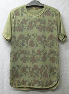 ワイズフォーメン ヨウジヤマモト:製品染め 花柄 Tシャツ グリーン 3 ( Y's for Men Yohji Yamamoto Vintage Flower Tee Green 3