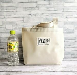 手刺繍の文房具のワッペン PVCミニトートバッグ オフホワイト 撥水防水 ランチバッグ エコバッグ