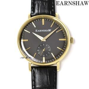 EARNSHAW 腕時計 メンズ クオーツ ブラック革ベルト レザーベルト ES-8078 スモールセコンド クラシック グレー×ゴールド文字盤 新品