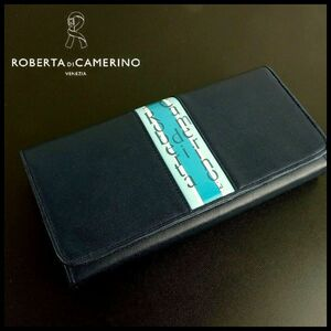 B9609 新品 展示品★Roberta di Camerino ロベルタ ディ カメリーノ★紺 バヤデラテーシリーズ 牛革 長財布 レディース