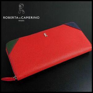 B9612 新品 即決 正規品★Roberta di Camerino ロベルタディカメリーノ★赤 牛革 ヴェネツィア ラウンドジップ 長財布 レディース