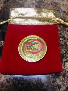 【品番:C33】鳳凰◆財運◆開運◆強運◆幸運◆メダル◆記念コイン◆ゴールド色