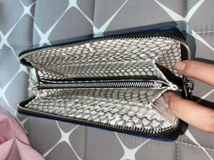 高級ワニ本革保証 蛇革(裏地)腹使用 希少極上一枚革 クロコダイル メンズ長財布 ラウンドファスナー 長財布 ワニ革財布