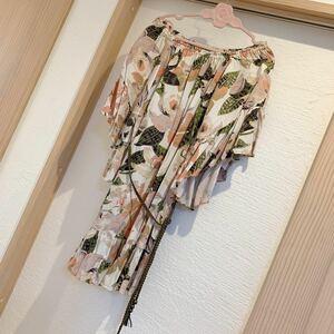 美品 グレースコンチネンタル  36 ワンピース ベルト付き オフショル 花柄