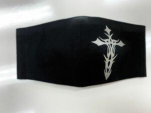 ハンドメイド シンプル黒 十字架B クロス マスクカバー  タトゥー風マスクカバー