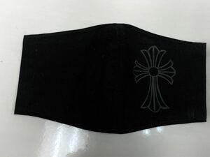 ハンドメイド シンプル黒 黒×黒 マスクカバー クロス 十字架