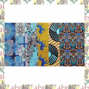 アフリカ布 アフリカ生地 ハギレ 45cm巾 x 55cm縦 x 6柄セット 綿100 d72(パッチワーク 手作りマスク 小物作成に)
